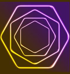 glowing yellow and purple neon hexagons shiny vector image