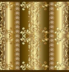Gold baroque seamless pattern greek ornaments vector