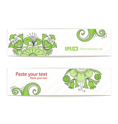 Green floral ornament banners vector image