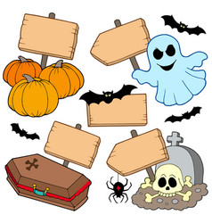 Halloween wooden signs collection vector
