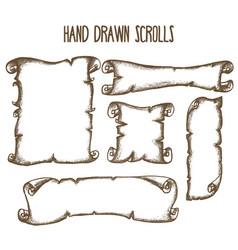 hand drrawn scrolls vector image