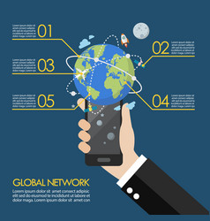 hand holding smartphone with global network vector image