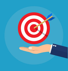 hand with target and arrow business concept vector image