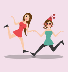 Happy women dancing style vector