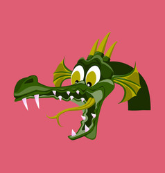 head of cartoon dragon with open mouse the head vector image