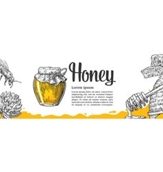 Honey set Jars beer and honeycomb Hand drawn vector image