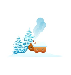 Icon house in the snow vector