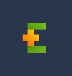 Letter e cross plus logo icon design template vector