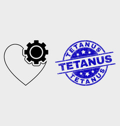 linear heart gear icon and grunge tetanus vector image