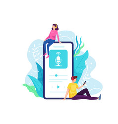 Listen to podcast with smart phone vector