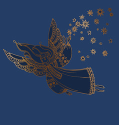 luxury night blue and gold decorative girl angel vector image