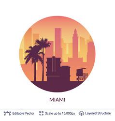 Miami famous city scape vector