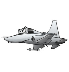 Military fighter jet airplane cartoon vector