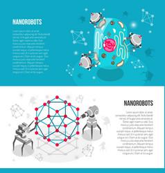 Nano robots isometric banners vector