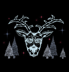 negative colors of reindeer and stars vector image