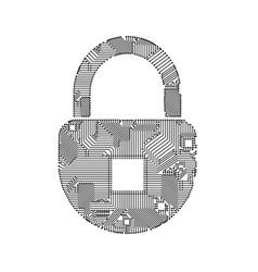 Padlock circuit on white vector