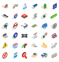 pass icons set isometric style vector image