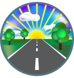 Paved road icon with green roadside curly bushes vector
