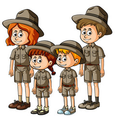 people in safari outfit vector image
