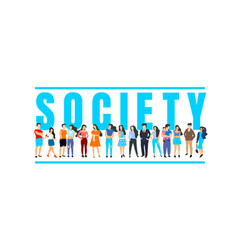people people social banner with text white vector image