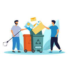 People throw away garbage to recycle trash can vector