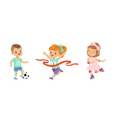 pretty little boy and girl playing sport game vector image