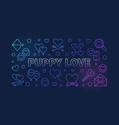 puppy love colored linear banner on dark vector image