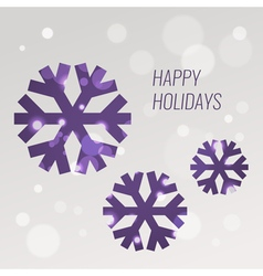 Purple snowflakes greeting card design template vector image
