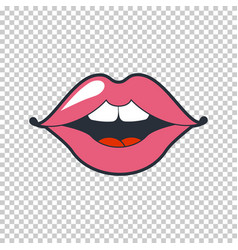 Quirky lips patch sticker isolated on vector