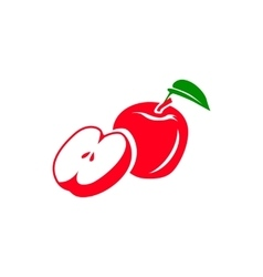 Red apple icon simple style vector image