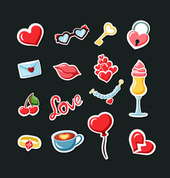 romantic date stickers set fashionable valentines vector image