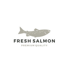 salmon fish logo seafood label badge sticker vector image