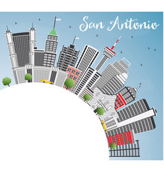 San antonio skyline with gray buildings blue sky vector