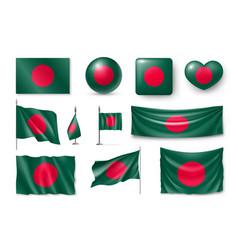Set bangladesh flags banners banners symbols vector