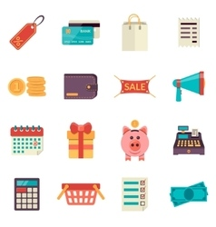 Set of flat shopping icons sale icons vector image vector image