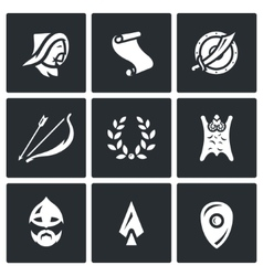 Set of Mongol Tatar Yoke Icons Asian vector image