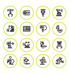 set round icons of robotic industry vector image
