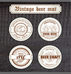 set vintage hand drawn beer mat with logo on vector image