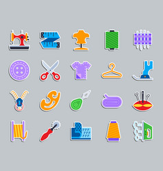 sewing patch sticker icons set vector image