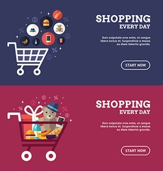 Shopping everyday shopping cart with goods set of vector