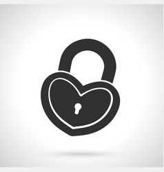 Silhouette padlock in heart shape vector