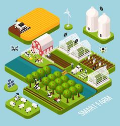 smart farm isometric set vector image