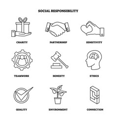 Social responsibility outline icon set vector