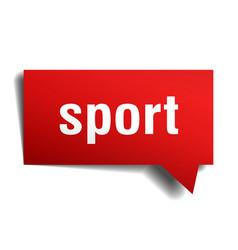 Sport red 3d speech bubble vector