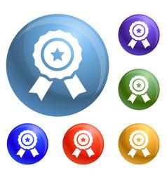 star emblem icons set vector image