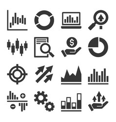 Stock market trading icons set vector