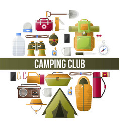 Summer camping club camp poster vector