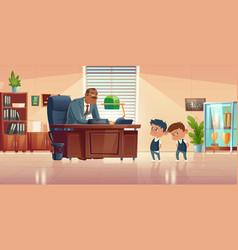 Teacher meeting with kids in principals office vector