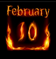 Tenth february in calendar of fire icon on black vector