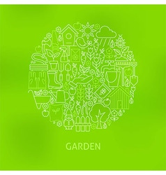 Thin Line Green Gardening and Flowers Icons Set vector